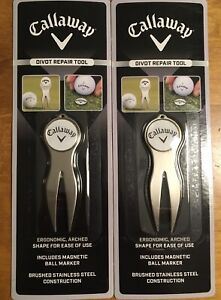 LOT-2-Callaway-Golf-Stainless-Steel-Divot-Repair-Tool-with-Magnetic-Ball-Marker