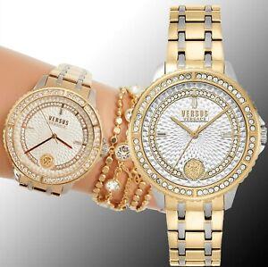Versus-Versace-Damen-Uhr-Swarovski-CrystaI-VSPLM0519-Montorgueil-zweifarbig-neu