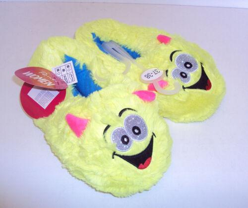 Femmes Filles Nouveauté Confortable Cadeau Pantoufles monstre jaune neuf taille 2-3 4-5 6-7