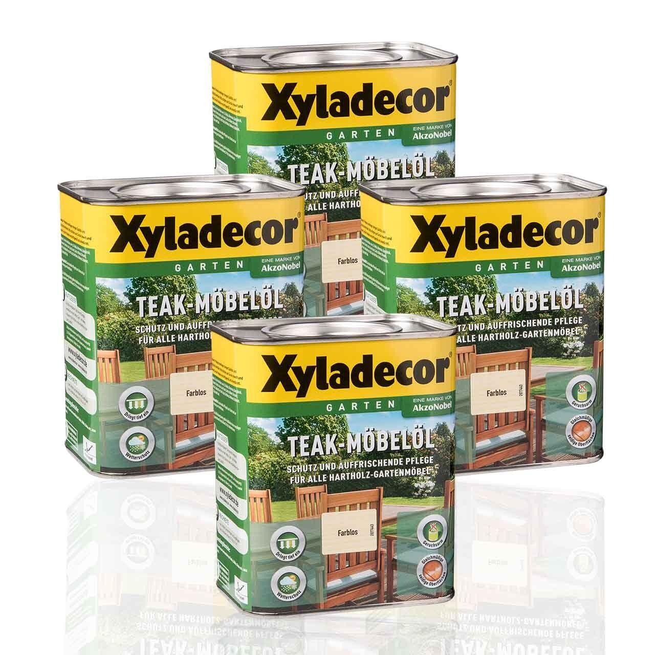 4 x Xyladecor Teak-Möbelöl farblos 0,75l - farbloses Teaköl Möbelöl Bangkiraiöl