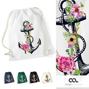 Turnbeutel-Blumen-Anker-Ethno-Boho-Hipster-Beutel-Tasche-Gym-Bag-Watercolour