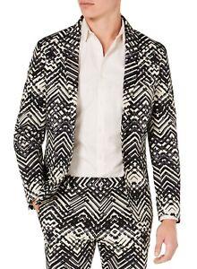 INC Mens Sport Coat Beige Size XL Printed Slim Fit Two-Button Notched $129 #174
