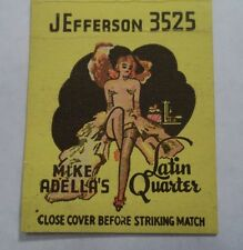 LATIN QUARTER NIGHT CLUB MATCHBOOK COVER VINTAGE AKRON OH GIRLIE PIC