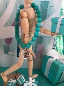 bf13c8739872 Tiffany Co. Blue Bracelet Amazonite RTT Heart Tag 8mm Bead SZ 7.5 ...