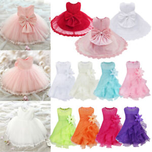 Wedding Party Christening Gown Formal Pageant Ruffle Baby Girl Flower Tutu Dress