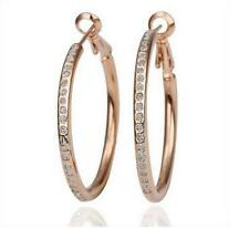 Hot ! Elegant Womens 9K Rose Gold Filled AAA CZ  Earrings Hoop A05
