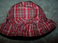 Baby Gap Christmas Holiday Plaid Bucket Hat With Chin Strap & Bow 6-12 Mo