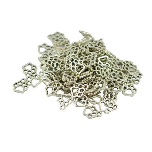 Wholesale 100pcs Tibetan Silver Cute Puppy Paw Charms pendentif À faire soi-même Craft