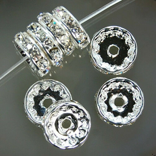Crystal Rhinestone Rondelle Spacer Beads Silver 4mm 5mm 6mm 8mm 10mm 12mm
