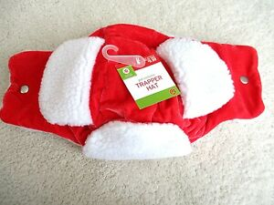 NWT Pet Dog Costume Holiday Red Winter Trapper Hat Cap w/ White Fleece Fur M/L
