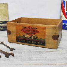 Vintage Dunlop Box Wooden Spares Crate Classic Car Tools Enamel Sign