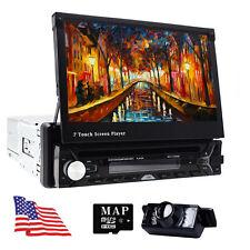 "Single 1 DIN 7"" HD Flip Up GPS NAV Car Stereo CD DVD MP3 Player USB Radio Camera"