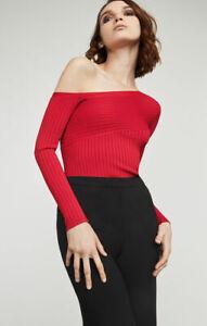 178-NEW-WOMEN-New-Bcbg-max-azria-AYA-one-Shoulder-Sweater-Ribbed-Top-SZ-L