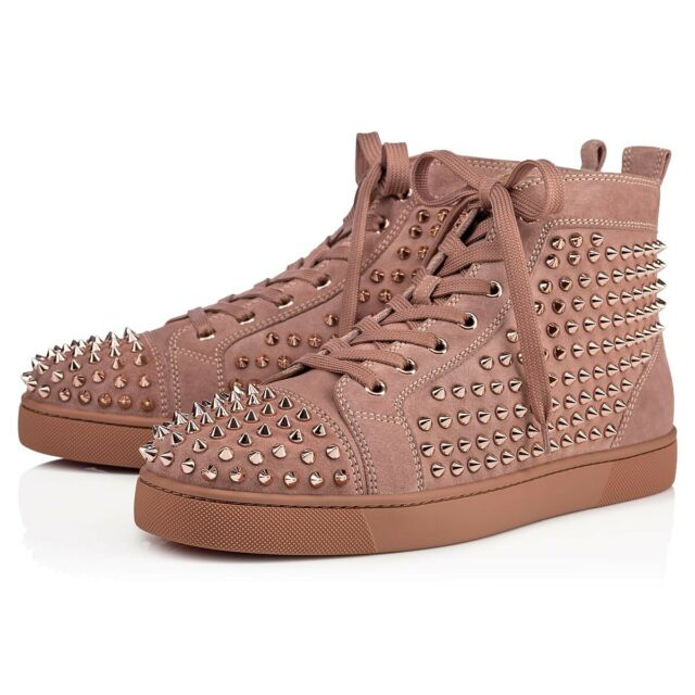 separation shoes 3b587 975cd Christian Louboutin Mens Louis Flat Suede Antic Pink Spike High Top Sneaker