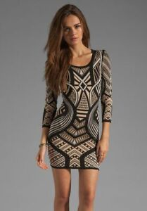 Torn-by-Ronny-Kobo-Black-Long-Sleeve-Knit-Aztec-Casual-Dress-Size-M