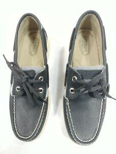 Sperry-Top-Sider-Women-Slip-On-2-Eye-Tie-Boat-Shoe-Memory-Foam-Navy-Blue-Size-7