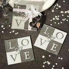 100 Love Glass Coasters Wedding Favor Bridal Shower Favors Heart Design