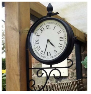 KINGFISHER-VICTORIAN-STATION-STYLE-TRAIN-GARDEN-CLOCK-ROTATING-METAL-CP-LH03867