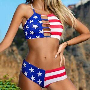 American Flag Print Stars & Stripes Bikini Sexy Two Piece Swimsuit