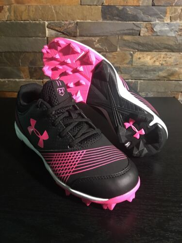 Under Armour 1297332-064 Glyde RM Jr Softball Black Cerise Pink Size 3.5Y