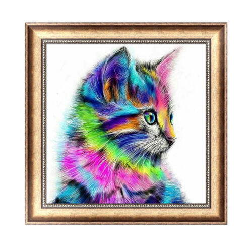 DIY 5D Diamond Embroidery Colorful Cat Painting Mosaic Cross Stitch Home Decor