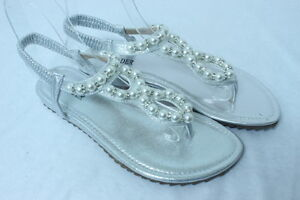 Women-039-s-SILVER-Pearl-amp-Crystal-Flat-Sandals-Evening-Wedding-Party-Dress-Shoes