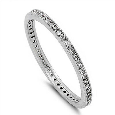 Cubic Zirconia Eternity Wedding Band .925 Sterling Silver Ring Sizes 4-11