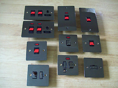 Onbaatzuchtig Polished Black Nickel Double Pole Neon Cooker Switch Control Unit Plates Zacht En Antislippery