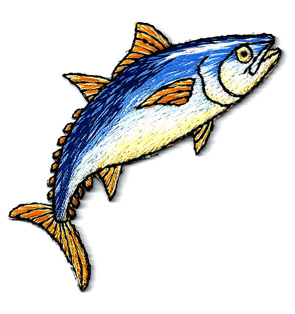 TUNA FISH FULLY EMBROIDERED IRON ON PATCH - RIGHT