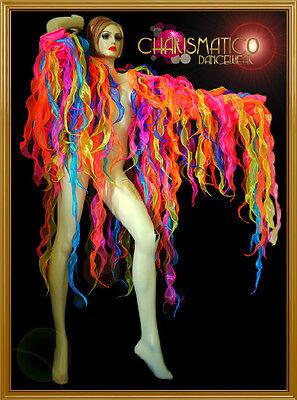 CHARISMATICO Rainbow gay pride organza flame ruffled drag queen showtime jacket