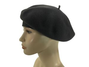 a9ba6463a Details about Laulhere 100% Wool French Beret Hat Coco Gray with Bow Made  In France 7-7 1/8