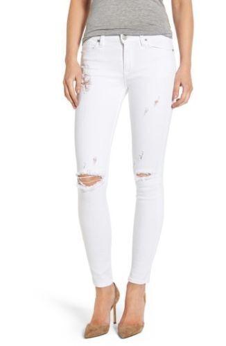 Hudson Nico Stretch Strife Super Skinny Jeans White Stri WM407TEQ sz.30 NWT
