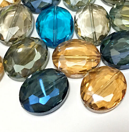20x24mm large size Faceted Multi-color Crystal Quartz Flat Oval Beads 10pcs