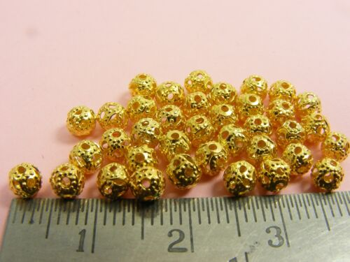 COPPER ~ 100 x Metal 4mm Round FILIGREE Spacer BEADS Findings ~ SILVER GOLD
