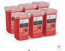 New Listingadirmed Sharps And Needle Bio Hazard Disposal Container 1 Quart 6 Pack