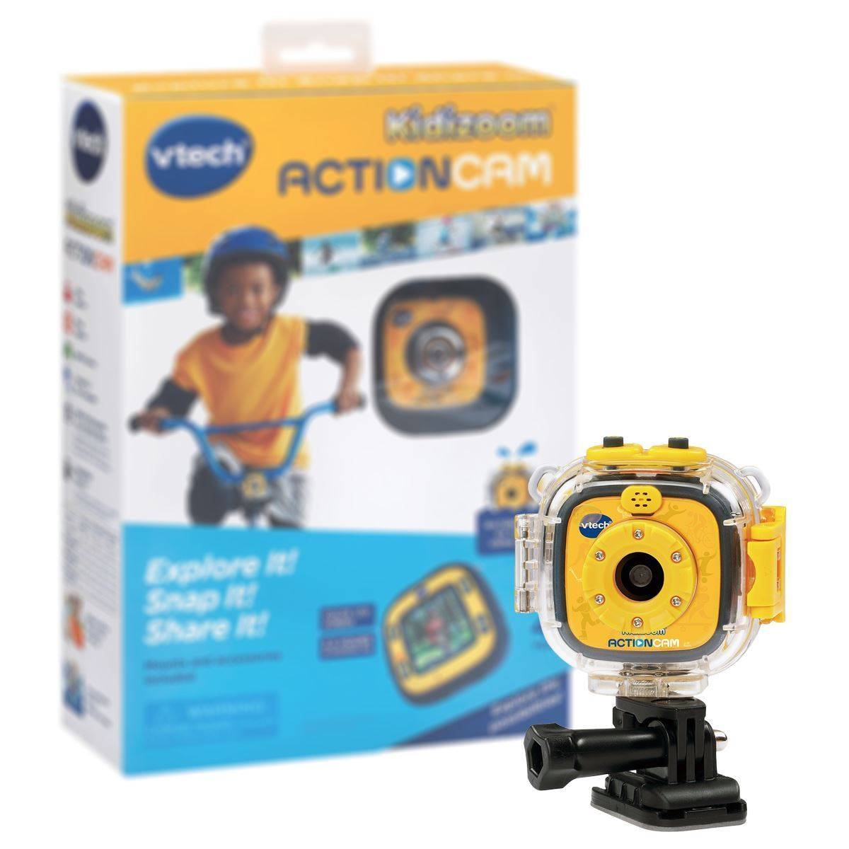New Vtech Kidizoom Action Cam w  Mounting Gear & Waterproof Case Official