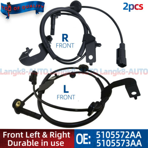 2pcs ABS Wheel Speed Sensor Front L+R For Dodge Journey 5105572AA 5105573AA