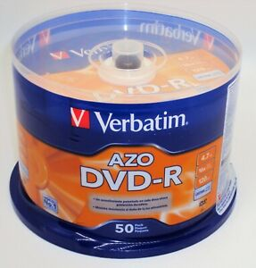 VERBATIM-AZO-DVD-R-50-PACK-New-Blank-Recordable-DVD-Discs-4-7-GB-16x-1x-120-min