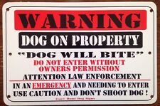 Metal Warning Dog On Property,Dog Will Bite Sign For FENCE ,Beware Of Dog