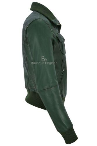 Stivali in Pelle Giacca Verde Bomber Stile Biker Moto 100/% NAPA 3758