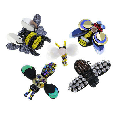5pcs//Set Boutique Sequins Rhinestone Handmade Bee Dragonfly Cloth Patches