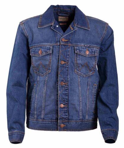 WRANGLER Homme Classic Jeans Veste Trucker Mid Stone Veste Blue Black Coton