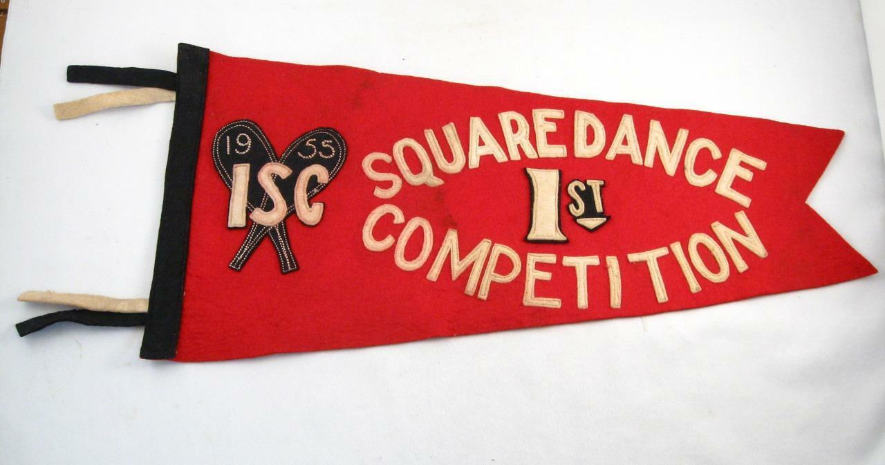 1955 ISC SNOWSHOES CLUB 1st  SQUARE DANCE COMPETITION FELT PENNANT FLAG  all goods are specials