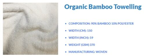 White Bamboo Towelling 90/% Bamboo 10/%, Polyester 3m by 1.5m