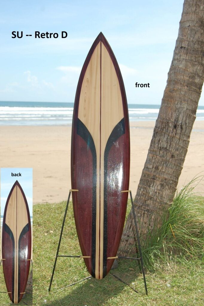 WOODEN ORNAMENTAL 100cm RETRO STRIPE SURFBOARD (PAINTED BOTH SIDES)  su100RETROD