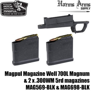 Magpul Mag Well 2x 300wm 5rd Magazines Fits Hunter 700l Stock