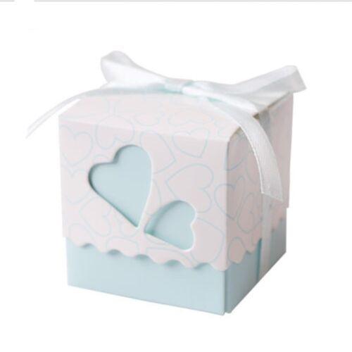 50 Pcs//set Love Favor Ribbon Gift Box Candy Boxes Wedding Party Holiday Decors