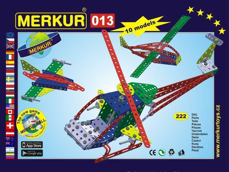 Metal construction set Merkur Helicopter, 0,8 kg, NEW, made in CZECH REPUBLIC