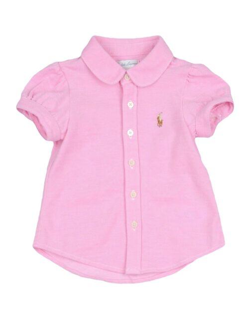 bdc1bc654 RALPH LAUREN baby girl ss Pink BLOUSE 100% cotton 3 6 9 12M cotton pique