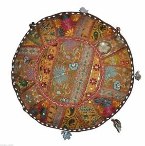 Vintage Ottoman Pouf Cover New Indian Cotton Handmade Patchwork Round Foot Stool